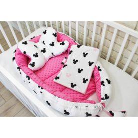 Nido, cuscino e copertina per neonato TOPOLINO ROSA